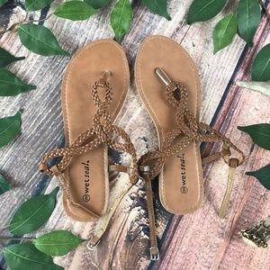 FIRM Wet Seal Size 9 Brown Strappy Braided Sandals